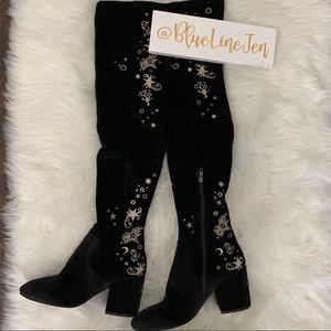 ASH Velvet Moon And Stars Thigh High Boots NWOT